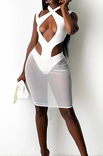 White Halter Neck Strapless Hollow Out Net Yarn Spliced Fashion Dress SZS8097-3