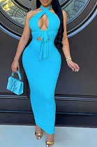 Sky Blue Halter Neck Backless Slim Fitting Long Dress WJ5226-3