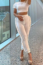 White Women Pure Color Casual Cute Agaric Edge Pants Sets AMW8325-1