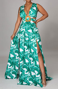 Green Printing Temperament Simple Giant Swing Plus Long Dress YF1612-2