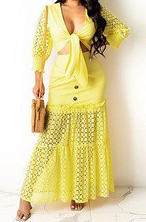 Sexy Fashion V Neck Pure Color Skirts Sets YF9079