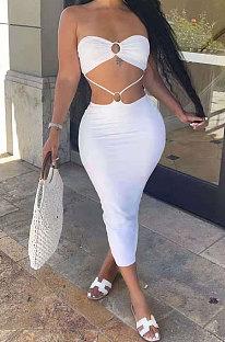Beige Women Pure Color Dew Waist Backless Sexy Trendy Midi Dress AMN8020-1