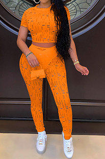 Orange Women Short Sleeve Knitting Hole Pants Sets YF9173-4
