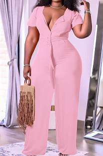 Pink Fashion Women Loose Casual Puff Sleeve Wide Leg Jumpsuits TK6191-3