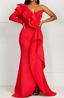 Red Fashion Sexy One Shoulder Slim Fitting The Dress Skirt QY5071-1
