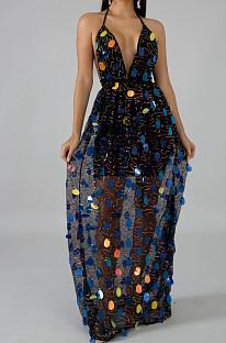 Black Fashion Backless Bind Sequins Sesy Long Dress LA3147-1