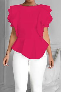 Rose Red Summer Maiden Wind Flounce Hem Spliced Short Sleeve Tops QY5073-1
