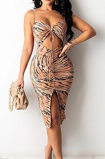 Khaki Sling Drawsting Hollow Out Backless Fashion Sexy Dress SZS8099-3