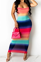 Red Digiral Printing Contrast Color Sexy Sling Back Cross Bodycon Dress SZS8108-1