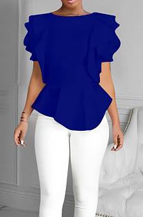 Royal Blue Summer Maiden Wind Flounce Hem Spliced Short Sleeve Tops QY5073-3