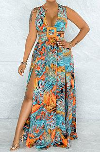 Colorful Printing Temperament Simple Giant Swing Plus Long Dress YF1612-1