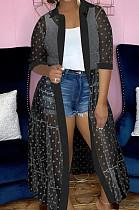 Black Fashion Wave Point Net Yarn Short Sleeve Coat Dress QY5076-2