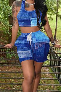 Blue Summer Fashion Printing Tank Shorts Sports Sets TK6190-2