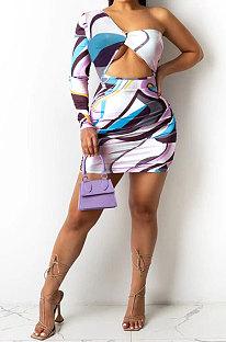 White Euramerican Women Single Sleeve Off Shoulder Printing Mini Dress ANY88611