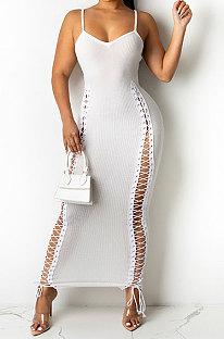 White Pit Bar Ribbon Pure Color Tight Condole Belt Long Dress YF9089-1