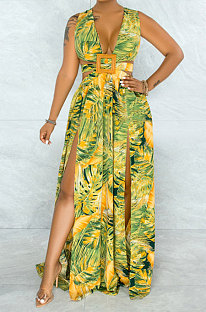Yellow Printing Temperament Simple Giant Swing Plus Long Dress YF1612-3
