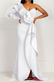 White Fashion Sexy One Shoulder Slim Fitting The Dress Skirt QY5071-3