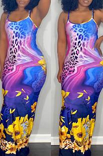Purple Leopard Print Sunflower Cotton Sexy Sling Long Dress H1673