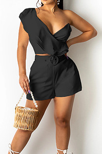 Black Wave Edge Irregularity Sleeve Strapless Do Not Contain Belt Fashion Two Piece SZS8110-5