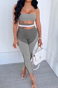 Grey Sexy Polyester Sleeveless Self Belted Backless Tube Jumpsuit BN9290-2