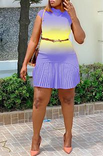 Purple Fashion Grakient Short Sleeve Pleated Dress SDE25122-3