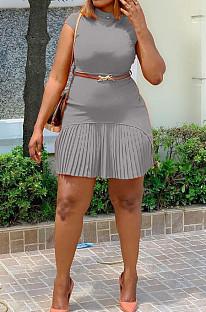 Grey Fashion Grakient Short Sleeve Pleated Dress SDE25122-2