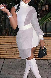 White  Women Round Neck Spliced Sexy Fashion Dress SZS8046-5