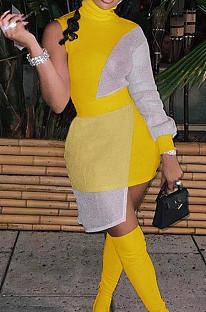 Yellow Women Round Neck Spliced Sexy Fashion Dress SZS8046-3