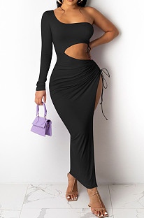 Black Elegant Sexy Ruffle Drawsting Long Dress OMM1220-1