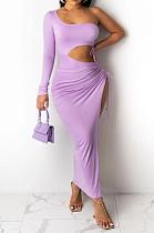 Light Purple Elegant Sexy Ruffle Drawsting Long Dress OMM1220-2