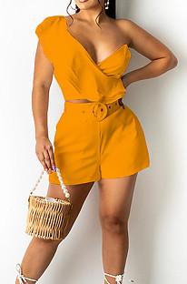 Orange Wave Edge Irregularity Sleeve Strapless Do Not Contain Belt Fashion Two Piece SZS8110-4