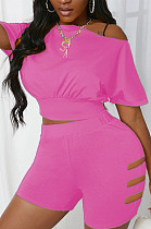 Rose Red Hole Off Shoulder Fashon Sports Two Piece SDE25118-5