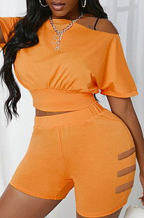 Yellow Hole Off Shoulder Fashon Sports Two Piece SDE25118-4