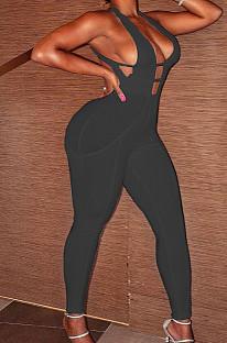 Black Fashion Sexy Pit Bar Spliced Bodycon Jumpsuits LSZ91171-3