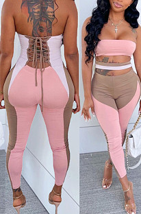 Pink Sexy Polyester Sleeveless Self Belted Backless Tube Jumpsuit BN9290-1