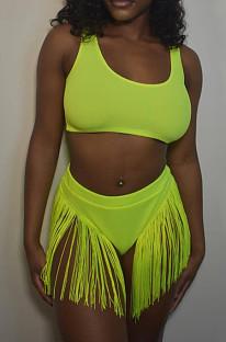 Fluorescent Green Fashion Sexy Tassel Slimsuits Two Piece KK8271