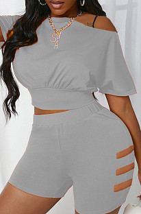 Grey Hole Off Shoulder Fashon Sports Two Piece SDE25118-2