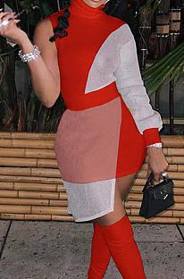 Red Women Round Neck Spliced Sexy Fashion Dress SZS8046-1