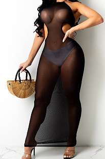 Black Sexy Net Yarn Perspective Halter Neck Backless Long Dress SDE26125-2
