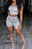 Euramerican Women Printing Strapless Bodycon Shorts Sets XT8838