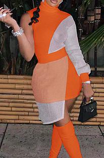 Orange Women Round Neck Spliced Sexy Fashion Dress SZS8046-2