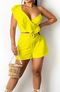 Yellow Wave Edge Irregularity Sleeve Strapless Do Not Contain Belt Fashion Two Piece SZS8110-6