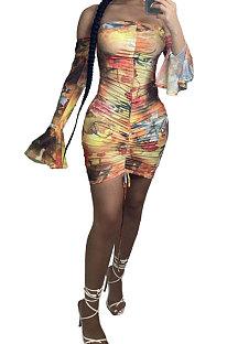 Women Sexy A Word Shoulder Mini Dress AYW1011