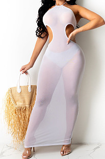 White Sexy Net Yarn Perspective Halter Neck Backless Long Dress SDE26125-1