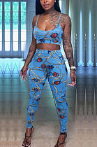 Light Blue Fashion Printing Sling Boob Tube Top Long Pants Two Piece NYZ6025-3