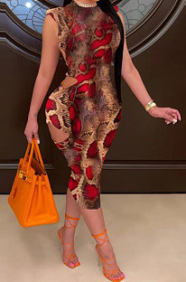 Red Women Hollow Out Backless Round Neck Printing Midi Dress GB8026-1