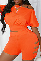 Orange Hole Off Shoulder Fashon Sports Two Piece SDE25118-1