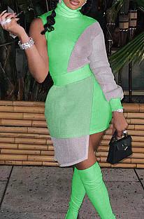Neon Green Women Round Neck Spliced Sexy Fashion Dress SZS8046-4