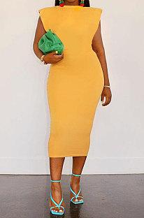 Yellow Women Sleeveless Shoulder Pads Pure Color Midi Dress LW8870-3