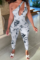 White Summer Hypotenuse Ink Painting Printing Bobycon Jumpsuits YC8025-2